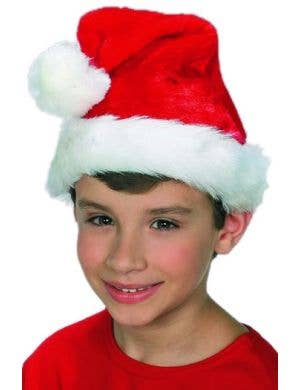 Kids Red and White Plush Santa Christmas Hat
