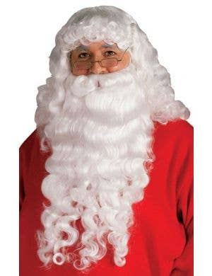 Long White Father Christmas Wig and Beard Accessory Set