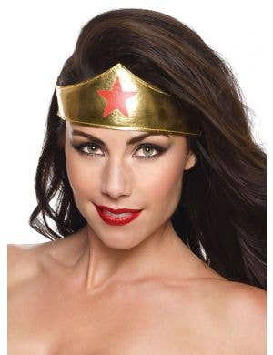 Wonder Woman deluxe gold fancy dress costume tiara