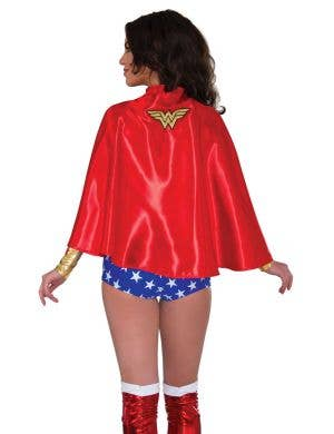 Wonder Woman adults red satin fancy dress costume cape
