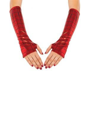 Women's Spider Girl Red Costume Arm Gauntlets Main Image