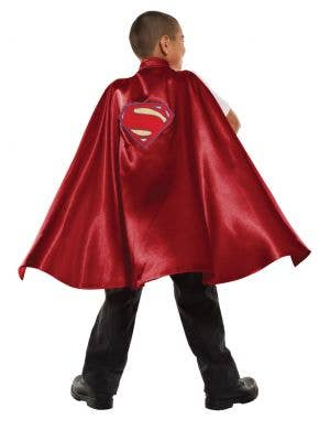Superman Deluxe Kids Red Satin Superhero Fancy Dress Costume Cape