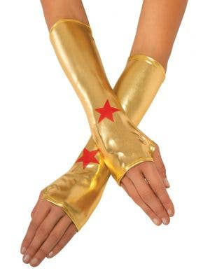 Wonder woman metallic gold superhero fancy dress costume gauntlets