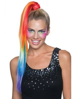 Women's 80's Rainbow Clip In Costume Ponytail