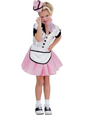 Girls 1950's Soda Pop Waitress Fancy Dress Costume