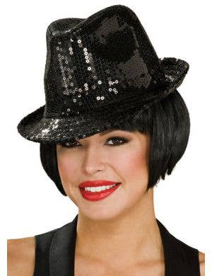Sequined Black Adult's Fedora Hat