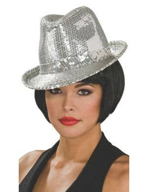 Women's Silver Sequined 20's Fedora Hat Costume Accessory Image 1