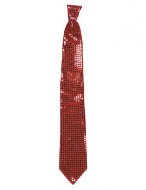 Jumbo Sequined Neck Tie - Red