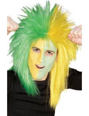 Adult's Green And Yellow Sports Fanatic Spiked Mullet Costume Wig View 1