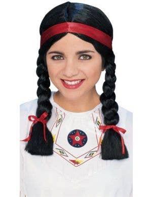 Native American Plaited Black Ladies Costume Wig