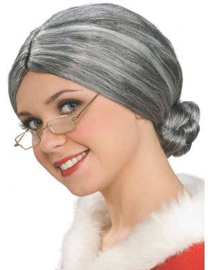 Old Lady Women's Mrs Claus Grey Costume Wig