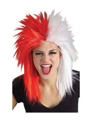 Sports Fanatic Red and White Unisex Costume Wig