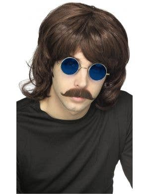 70'S Shag Men's Brown Costume Wig
