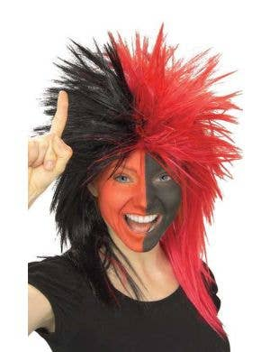 Sports Fanatic Red and Black Unisex Costume Wig