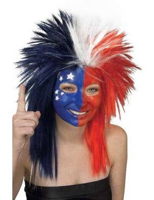 Aussie Red White And Blue Sports Fanatic Spiked Mullet Costume Wig Main Image