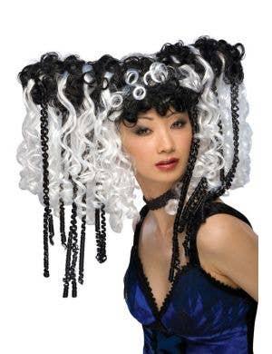 Curly Locks Black & White Gothic Wig