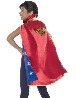 Wonder Woman deluxe Kids red Satin fancy dress costume cape