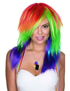 Celebration Rainbow Razor Cut Cosutme Wig For Women