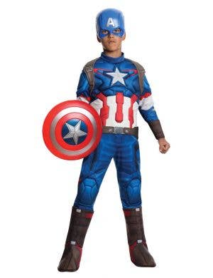 Captain America Boy's Avenger's Comic Book Costume Front View