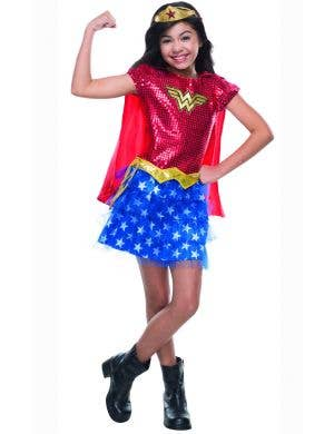 Wonder Woman Girls Sequined Tutu fancy dress costume full length
