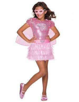 Girl's Supergirl Pink Superhero Book Week Costume Front