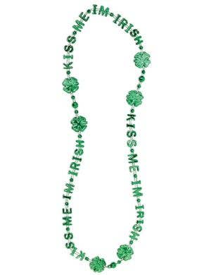 Green Metallic Kiss Me I'm Irish Beaded Necklace Costume Accessory
