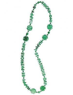 Green Metallic Happy St Patrick's Day Beaded Necklace Costume Accessory