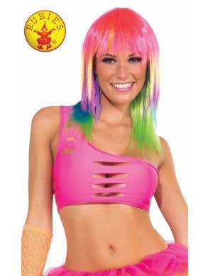 Neon Pink Rave 80's Cut Out One Shoulder Costume Top