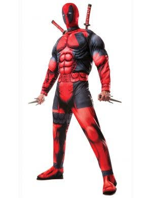 Deluxe Muscle Chest Men's Deadpool Superhero Costume Main Image