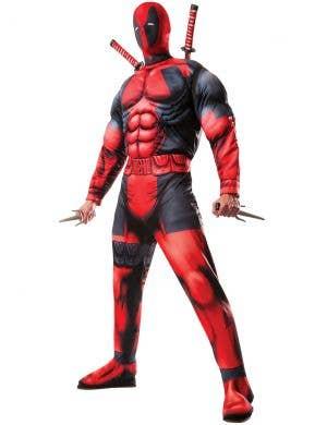 Deluxe Muscle Chest Men's Deadpool Superhero Costume Main Image