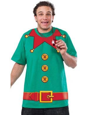 Christmas Elf Adult's Green Fancy Dress T shirt