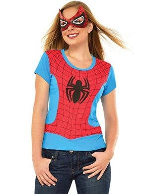 Blue and Red Spidergirl Costume Top and Mask Set Main Image