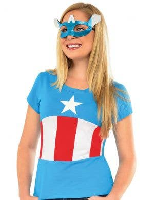 Captain America Women's Shirt and Mask Costume Set
