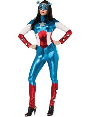 American Dream Captain America Women's Metallic Jumpsuit Costume Main Image