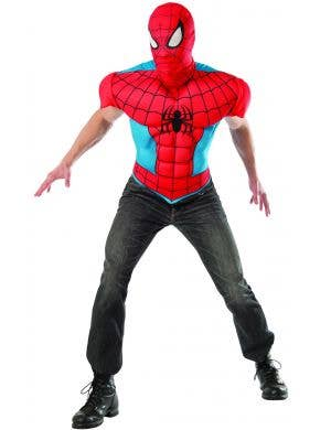 Spiderman Muscle Chest Men's Shirt and Mask Costume Kit View 1