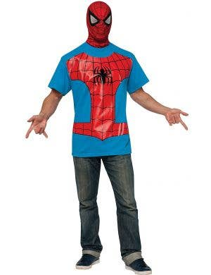 Spiderman T-shirt and Mask Men's Superhero Costume Set main image