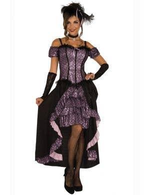 Women's Sexy Purple Saloon Girl Western Costume Main Image