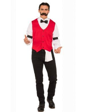 Men's Western Bartender Saloon Fancy Dress Costume Main Image