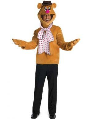 Men's Plus Fozzie Bear Muppets Fancy Dress Costume