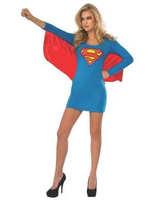 Supergirl Women's Blue Superhero Fancy Dress Costume