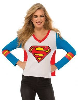 Supergirl Women's Fancy Dress Costume Shirt with Attached Cape Front View