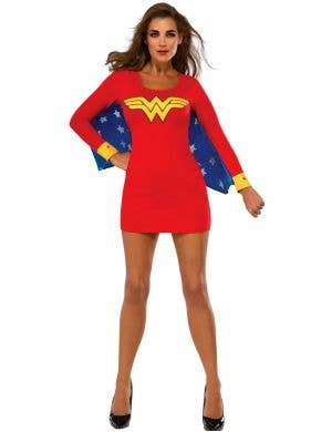Classic Wonder Woman women's bodycon superhero fancy dress costume full length