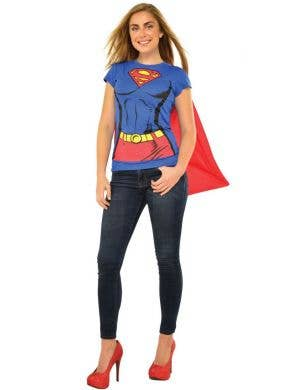 Women's Super Girl Blue And Red Printed Shirt With Cape Main Image
