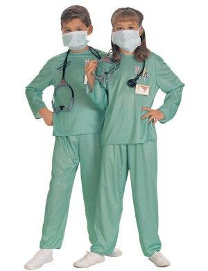 Kids Surgical Scrubs Doctor Fancy Dress Costume