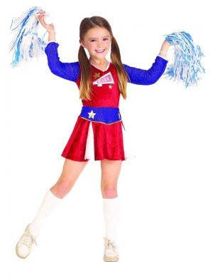 Retro American Cheerleader Girls Budget Fancy Dress Costume