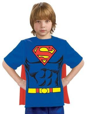 Boy's Superman Costume T-Shirt With Attached Cape Fancy Dress Book Week Costume