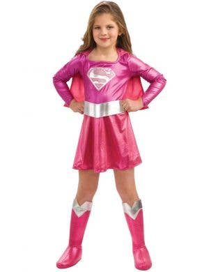 Girl's Pink Supergirl Superhero Costume Fancy Dress Front