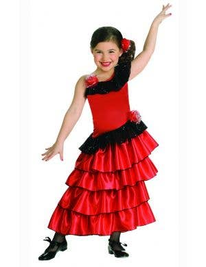 Girls Red Spanish Flamenco Dancer Fancy Dress Costume