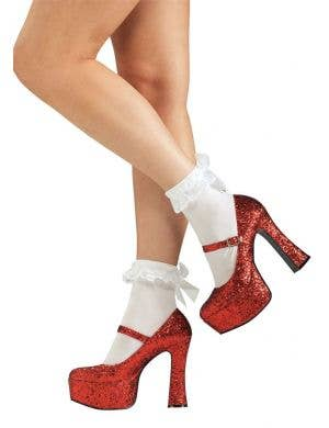 Women's Red Glitter Platform Dorothy Costume Shoes Main Image