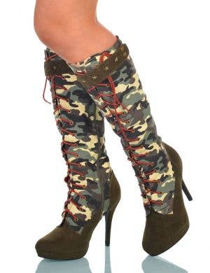 Lace Up High Heel Women's Army Boots